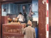 A chicken vendor in the market in Casablanca, Morocco