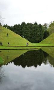 Undulating landmasses in the unusual Garden of Cosmic Speculation in Dumfries, Scotland.