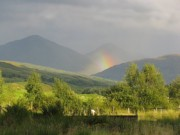 A rainbow in the Scottish highlands
