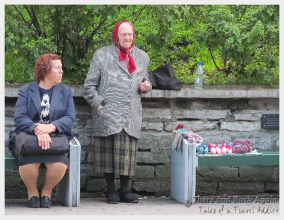 Old women selling handmade knitted goods, Talinn, Estonia