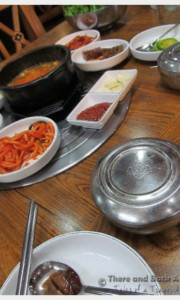 When we went inside and sat down, we had a very authentic experience with a bunch of Korean people eating a modest lunch.  Yum.