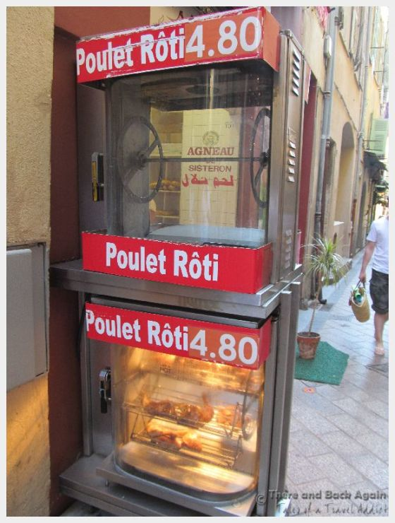 Rotisserie chicken is one of the most budget friendly meals in Nice France.