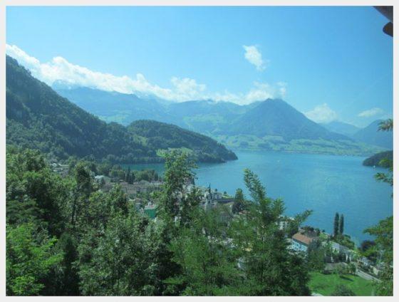 Views of the lake while heading up the cogwheel train to Mount Rigi.