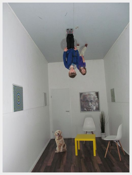 A photo of the upside down room in the Museum of Illusions, one of the best things to do in Ljubljana with kids