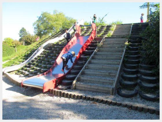 The slide at Tivoli Park in Ljubljana, one of the best things to do in Ljubljana with kids.
