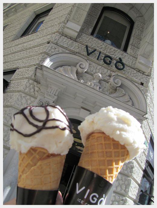 Our ice cream cones at Vigo Ice Cream in Ljubljana.