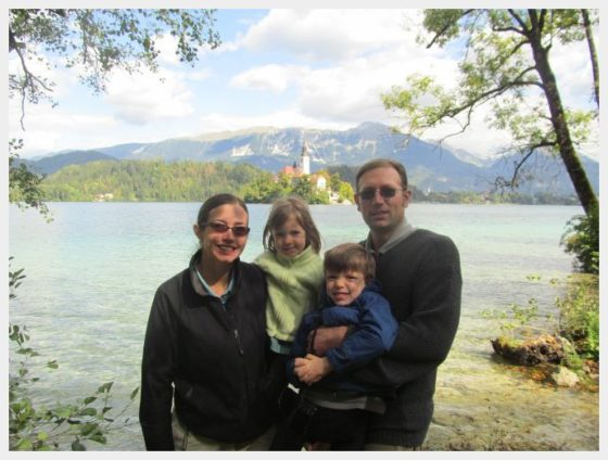 Family photo at Lake Bled Slovenia