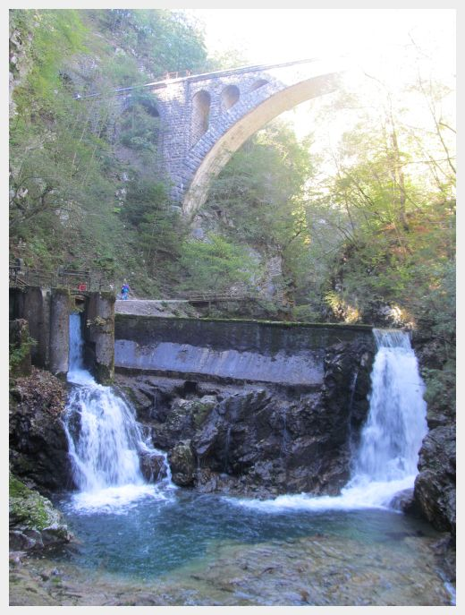 The picturesque bridge and dam at the Vintgar Gorge Slovenia