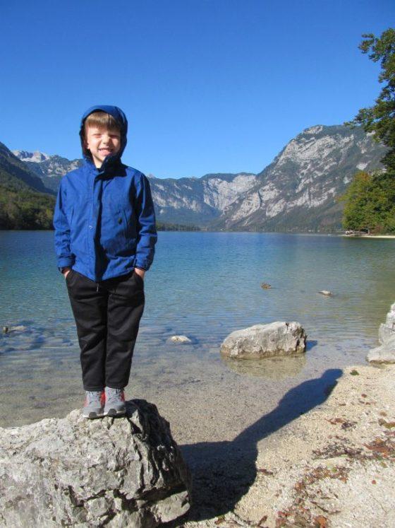 On the sore of Lake Bohinj with the kids