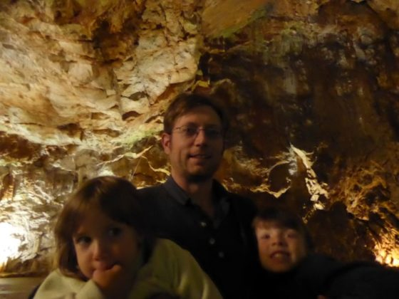 Us and the kiddos on the Postojna Cave tour in Slovenia
