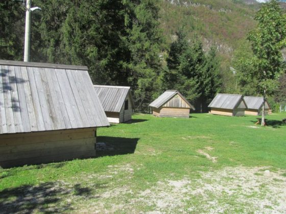 Cabins on the Soca river