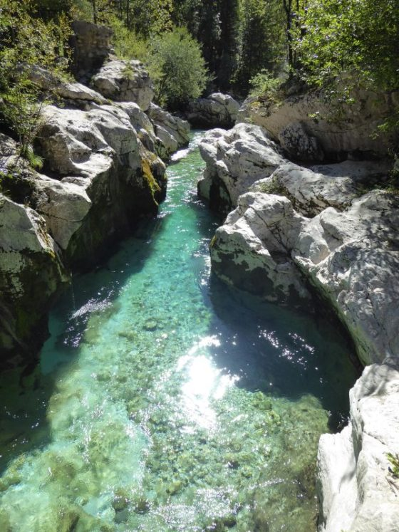 Our favorite Soca River Slovenia photo stop. Beautiful azure blue water.