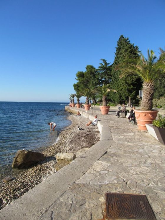The waterfront path in Izola, Slovenia was perfect for strolling with kids.