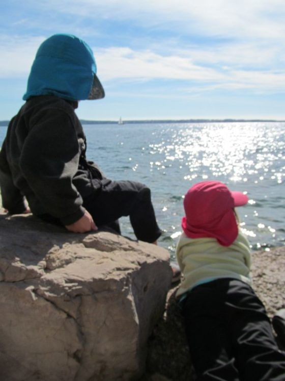 The kids on the sea wall in Piran Slovenia