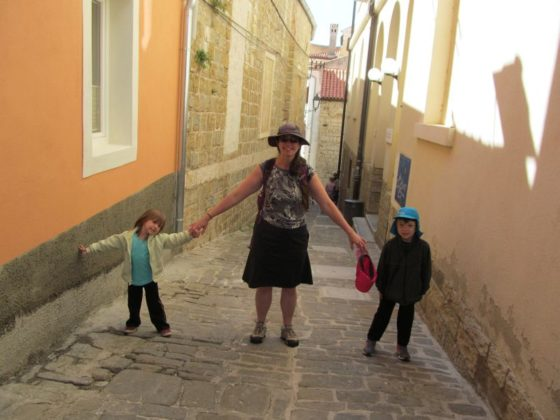 Shanna and kids in Piran Slovenia