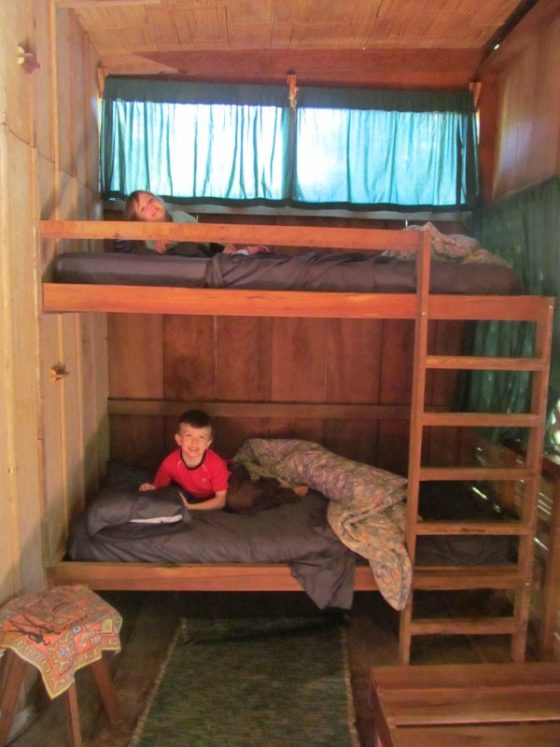 The kids in their bunk beds in our cabin at the Casa Rio Blanco Eco Lodge (A nice place to stop if driving from San Jose to Puerto Viejo)