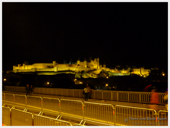 Carcassonne Castle lit up at night.