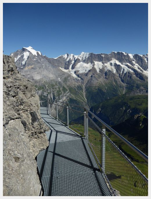The cliff walk at the Birg Cable Car station at the Schilthorn, one of the best things to do with kids in Interlaken
