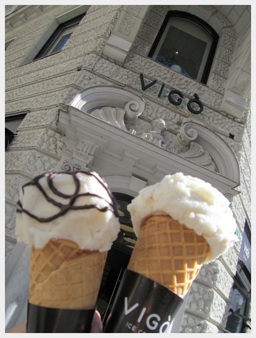 Our ice cream cones at Vigo Ice Cream in Ljubljana.