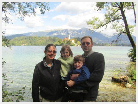 Family photo at Lake Bled Slovenia