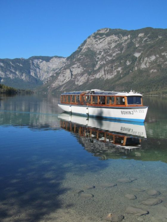 A boat cruise across Lake Bohinj Slovenia