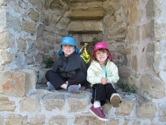 The kids on the old city walls of Piran Slovenia