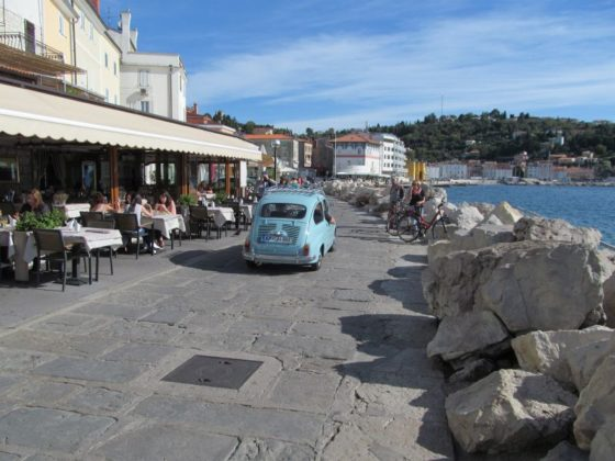 The pleasant walk around the end of the point of Piran's old town.