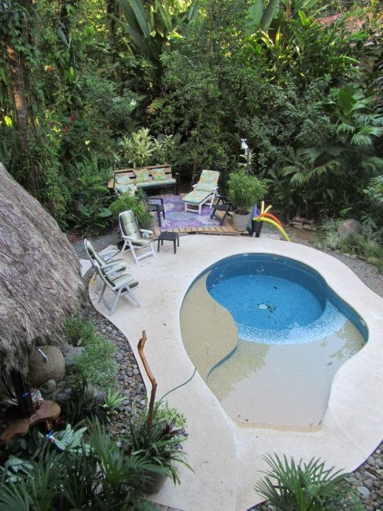 The lovely pool at out jungle accommodation in Playa Chiquita Costa Rica