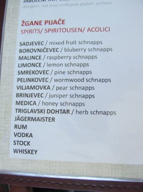Traditional Slovenian fruit brandy varieties