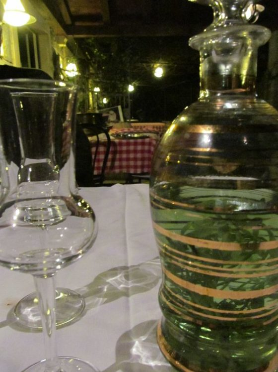 Our amazing Istrian meal was accompanied by grappa laced with rue (which they said was a digestive tonic)