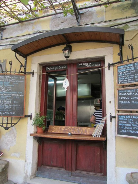 The ordering window at Fritolin Pri Cantini in Piran.  This was one of the best restaurants that we ate at in Slovenia