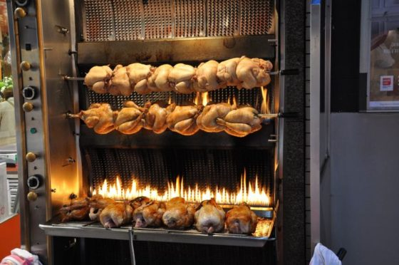 Poulet Roti, or rotisserie chicken, is always a cheap. filling meal in France.